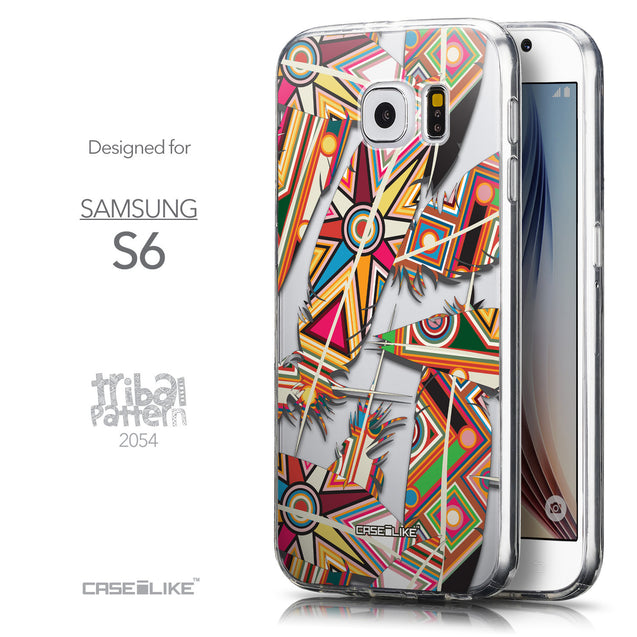 Front & Side View - CASEiLIKE Samsung Galaxy S6 back cover Indian Tribal Theme Pattern 2054