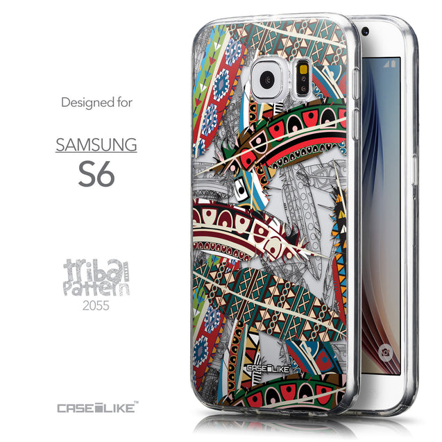 Front & Side View - CASEiLIKE Samsung Galaxy S6 back cover Indian Tribal Theme Pattern 2055