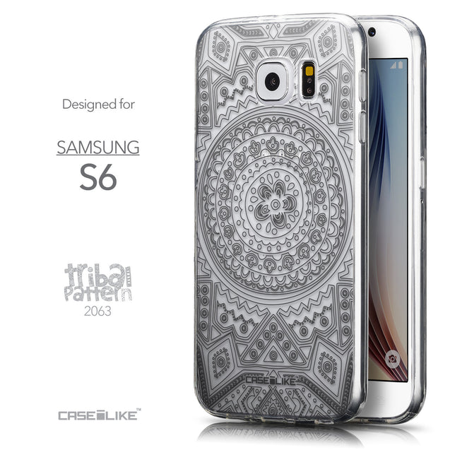 Front & Side View - CASEiLIKE Samsung Galaxy S6 back cover Indian Line Art 2063