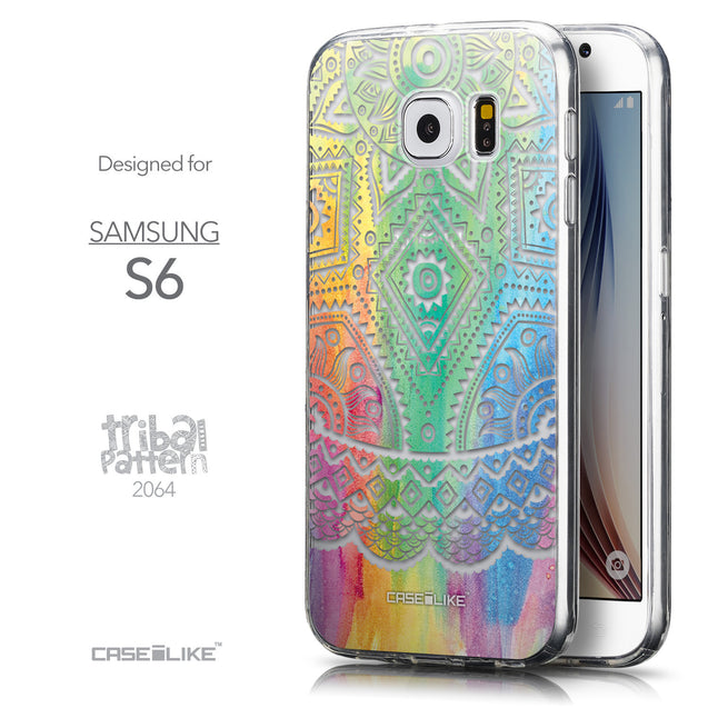 Front & Side View - CASEiLIKE Samsung Galaxy S6 back cover Indian Line Art 2064