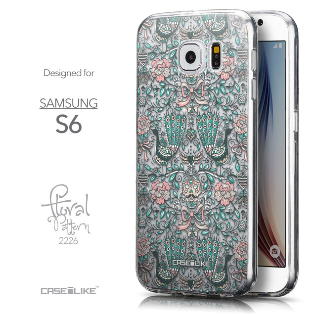 Front & Side View - CASEiLIKE Samsung Galaxy S6 back cover Roses Ornamental Skulls Peacocks 2226