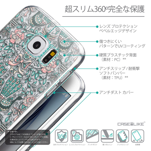 Details in Japanese - CASEiLIKE Samsung Galaxy S6 back cover Roses Ornamental Skulls Peacocks 2226