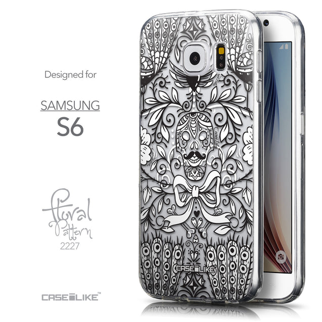 Front & Side View - CASEiLIKE Samsung Galaxy S6 back cover Roses Ornamental Skulls Peacocks 2227