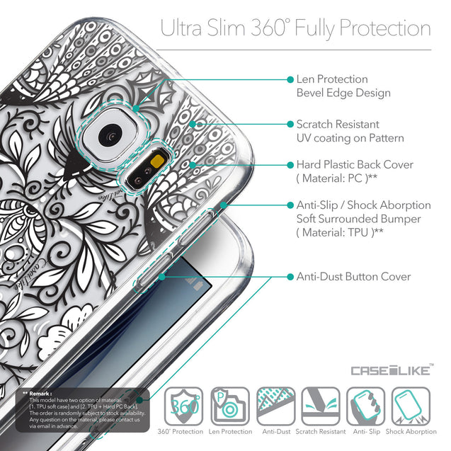 Details in English - CASEiLIKE Samsung Galaxy S6 back cover Roses Ornamental Skulls Peacocks 2227