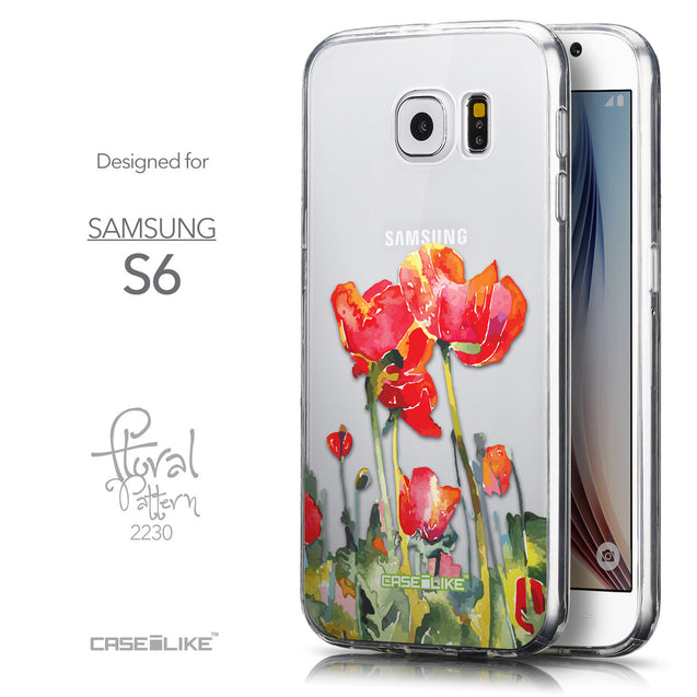 Front & Side View - CASEiLIKE Samsung Galaxy S6 back cover Watercolor Floral 2230
