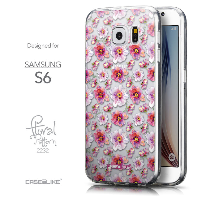 Front & Side View - CASEiLIKE Samsung Galaxy S6 back cover Watercolor Floral 2232