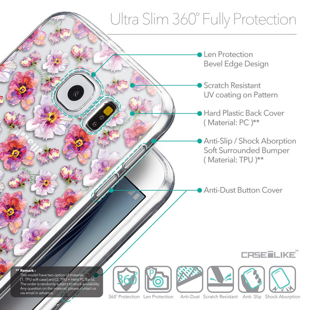 Details in English - CASEiLIKE Samsung Galaxy S6 back cover Watercolor Floral 2232