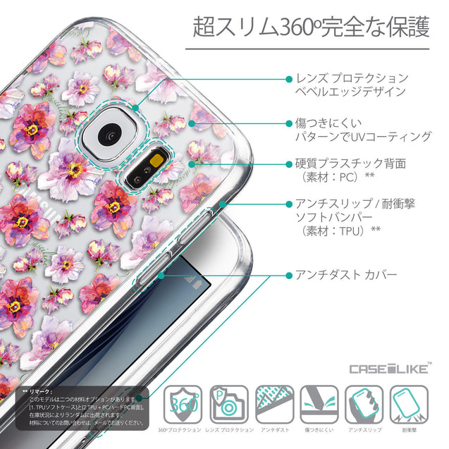 Details in Japanese - CASEiLIKE Samsung Galaxy S6 back cover Watercolor Floral 2232