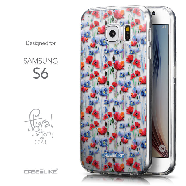 Front & Side View - CASEiLIKE Samsung Galaxy S6 back cover Watercolor Floral 2233
