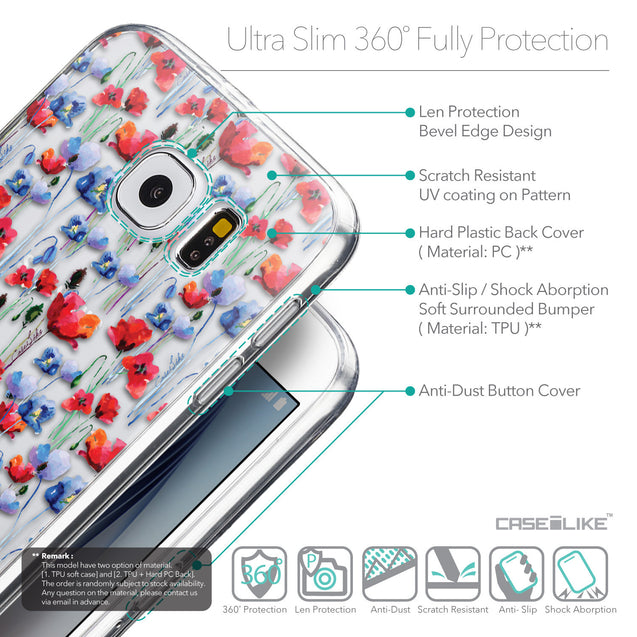Details in English - CASEiLIKE Samsung Galaxy S6 back cover Watercolor Floral 2233