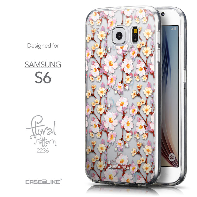 Front & Side View - CASEiLIKE Samsung Galaxy S6 back cover Watercolor Floral 2236