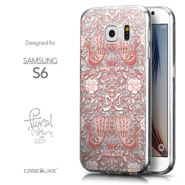 Front & Side View - CASEiLIKE Samsung Galaxy S6 back cover Roses Ornamental Skulls Peacocks 2237