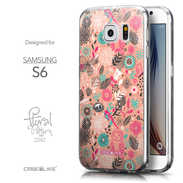 Front & Side View - CASEiLIKE Samsung Galaxy S6 back cover Spring Forest Pink 2242