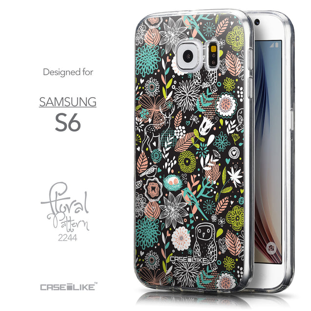 Front & Side View - CASEiLIKE Samsung Galaxy S6 back cover Spring Forest Black 2244