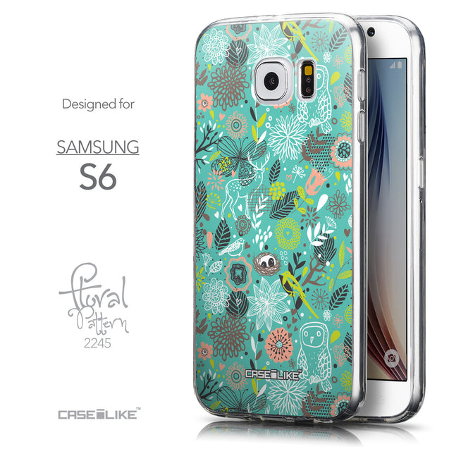 Front & Side View - CASEiLIKE Samsung Galaxy S6 back cover Spring Forest Turquoise 2245