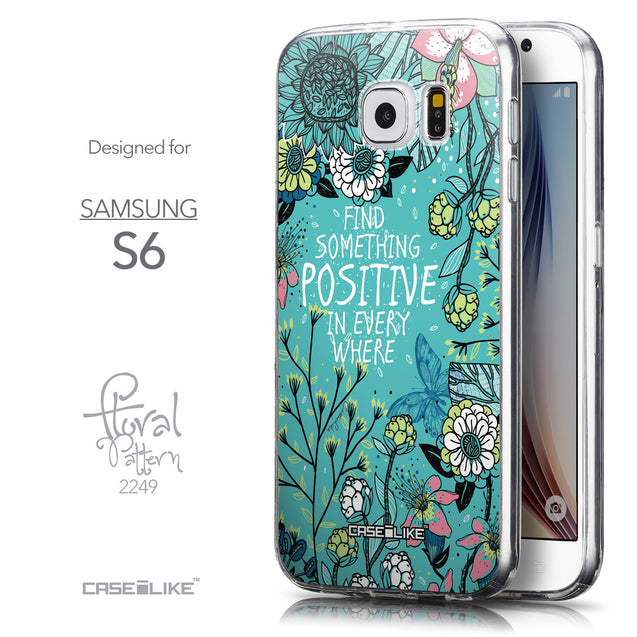Front & Side View - CASEiLIKE Samsung Galaxy S6 back cover Blooming Flowers Turquoise 2249