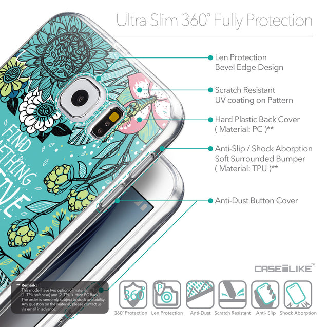 Details in English - CASEiLIKE Samsung Galaxy S6 back cover Blooming Flowers Turquoise 2249