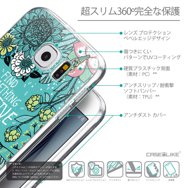 Details in Japanese - CASEiLIKE Samsung Galaxy S6 back cover Blooming Flowers Turquoise 2249