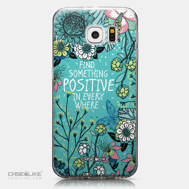 CASEiLIKE Samsung Galaxy S6 back cover Blooming Flowers Turquoise 2249