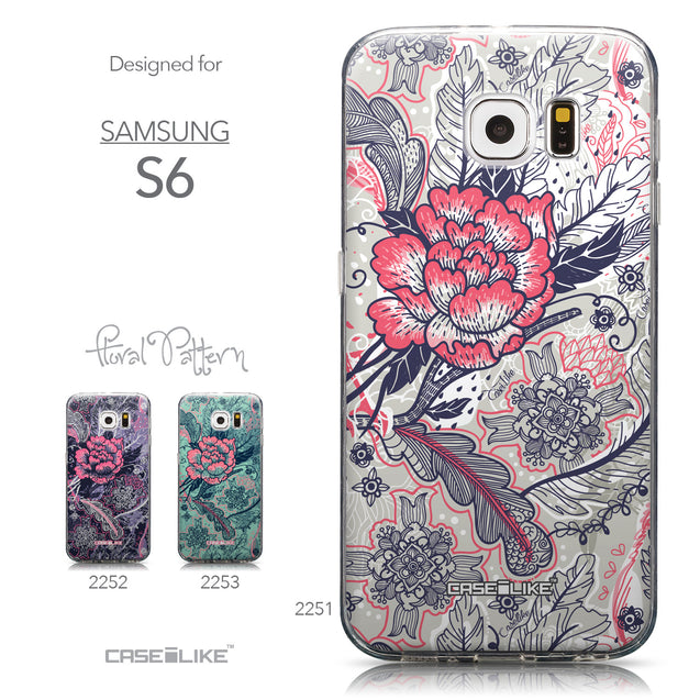 Collection - CASEiLIKE Samsung Galaxy S6 back cover Vintage Roses and Feathers Beige 2251