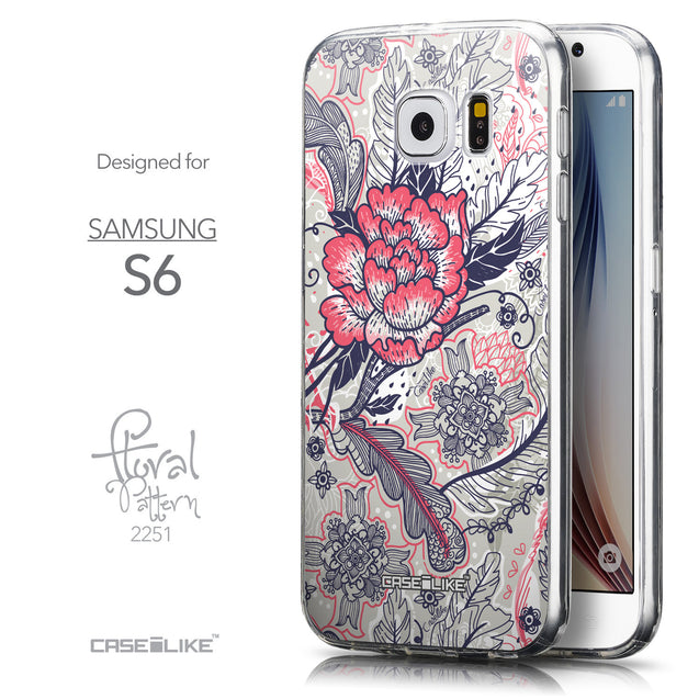 Front & Side View - CASEiLIKE Samsung Galaxy S6 back cover Vintage Roses and Feathers Beige 2251