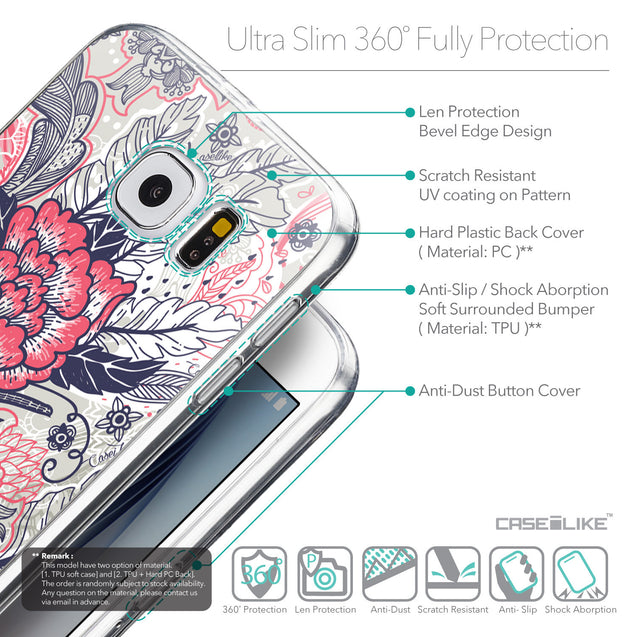 Details in English - CASEiLIKE Samsung Galaxy S6 back cover Vintage Roses and Feathers Beige 2251