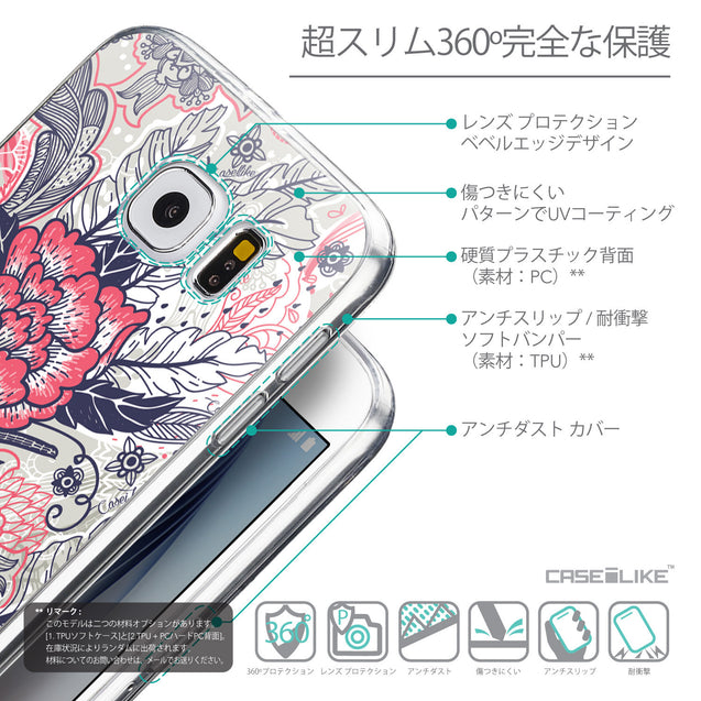 Details in Japanese - CASEiLIKE Samsung Galaxy S6 back cover Vintage Roses and Feathers Beige 2251