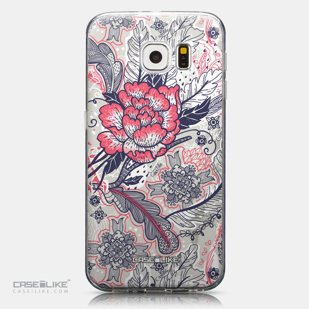 CASEiLIKE Samsung Galaxy S6 back cover Vintage Roses and Feathers Beige 2251