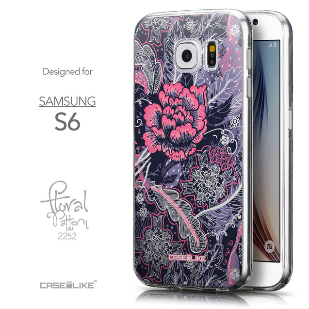 Front & Side View - CASEiLIKE Samsung Galaxy S6 back cover Vintage Roses and Feathers Blue 2252