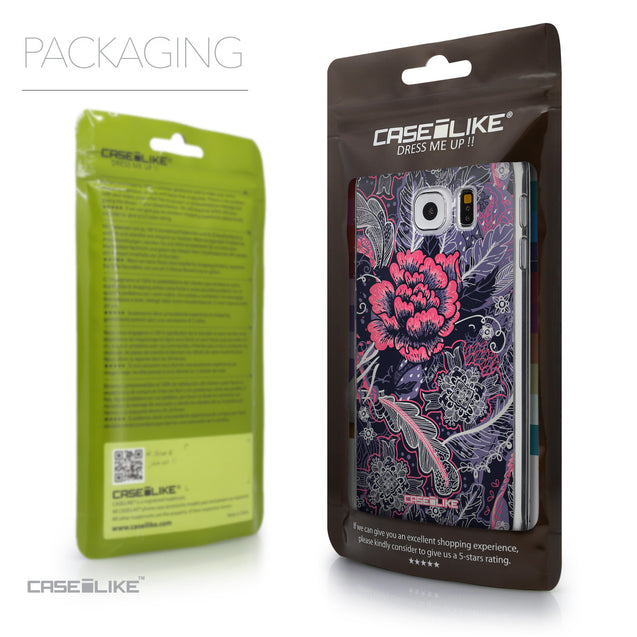 Packaging - CASEiLIKE Samsung Galaxy S6 back cover Vintage Roses and Feathers Blue 2252