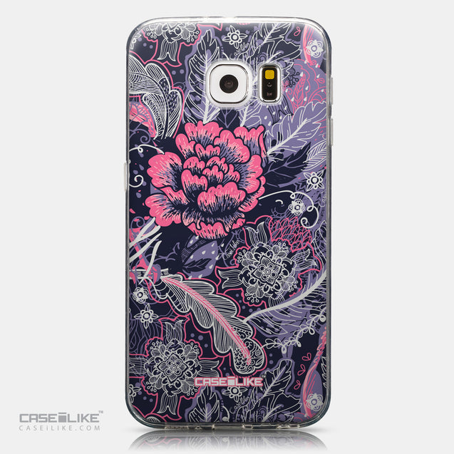 CASEiLIKE Samsung Galaxy S6 back cover Vintage Roses and Feathers Blue 2252