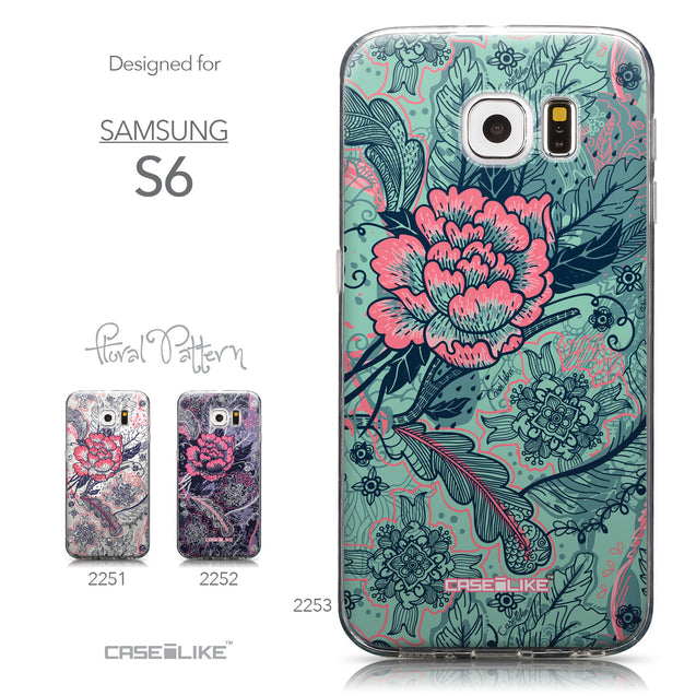 Collection - CASEiLIKE Samsung Galaxy S6 back cover Vintage Roses and Feathers Turquoise 2253