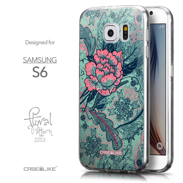 Front & Side View - CASEiLIKE Samsung Galaxy S6 back cover Vintage Roses and Feathers Turquoise 2253