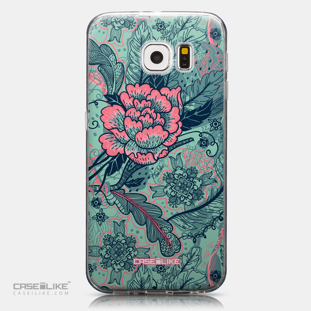 CASEiLIKE Samsung Galaxy S6 back cover Vintage Roses and Feathers Turquoise 2253