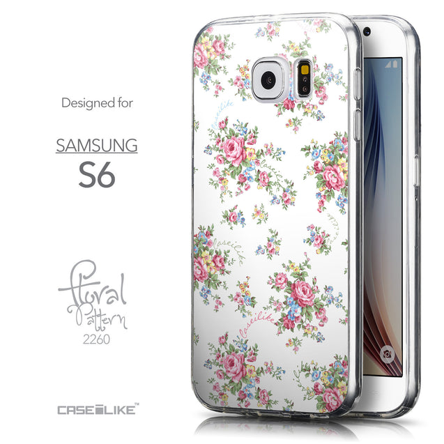 Front & Side View - CASEiLIKE Samsung Galaxy S6 back cover Floral Rose Classic 2260