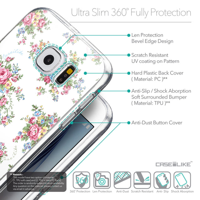 Details in English - CASEiLIKE Samsung Galaxy S6 back cover Floral Rose Classic 2260