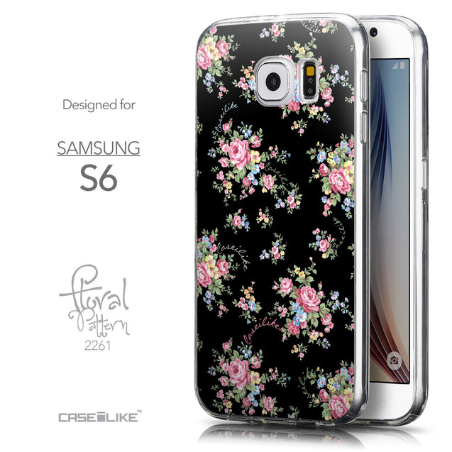 Front & Side View - CASEiLIKE Samsung Galaxy S6 back cover Floral Rose Classic 2261