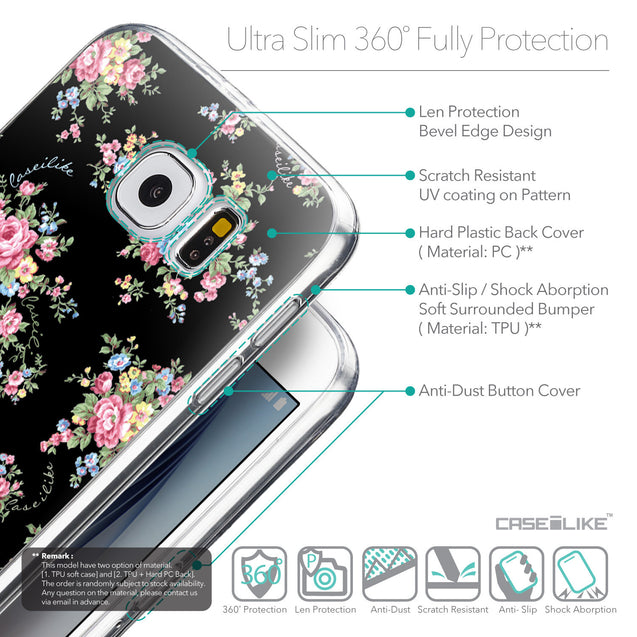 Details in English - CASEiLIKE Samsung Galaxy S6 back cover Floral Rose Classic 2261