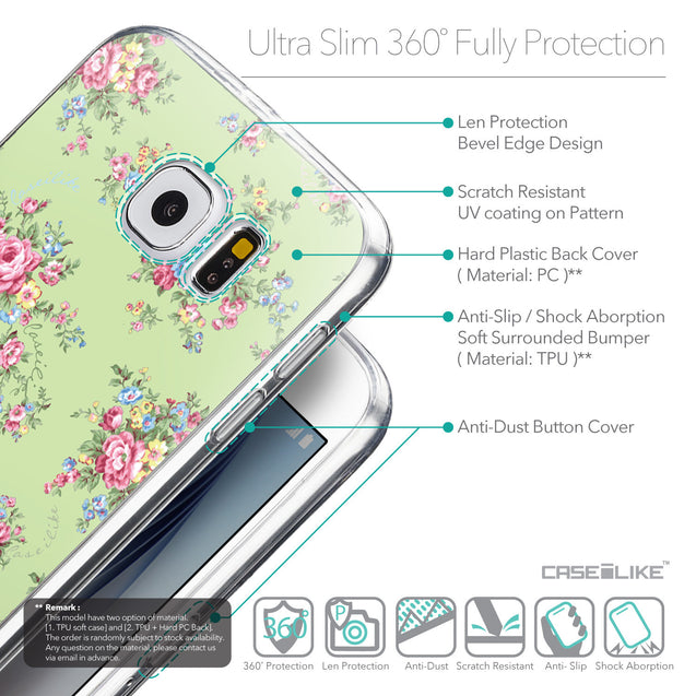 Details in English - CASEiLIKE Samsung Galaxy S6 back cover Floral Rose Classic 2262