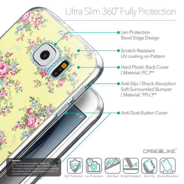 Details in English - CASEiLIKE Samsung Galaxy S6 back cover Floral Rose Classic 2264