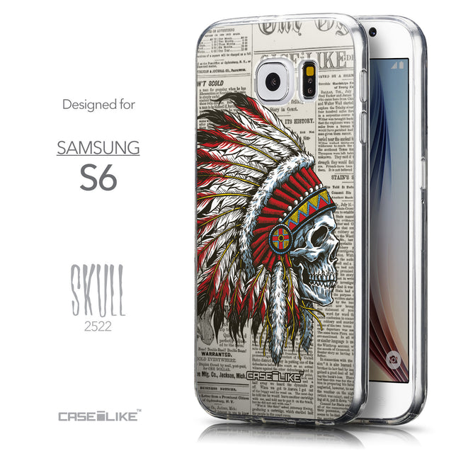 Front & Side View - CASEiLIKE Samsung Galaxy S6 back cover Art of Skull 2522