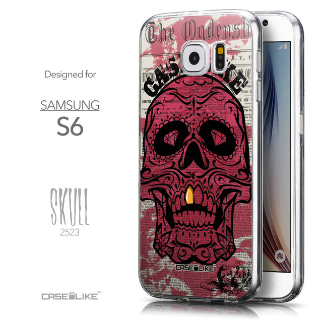 Front & Side View - CASEiLIKE Samsung Galaxy S6 back cover Art of Skull 2523