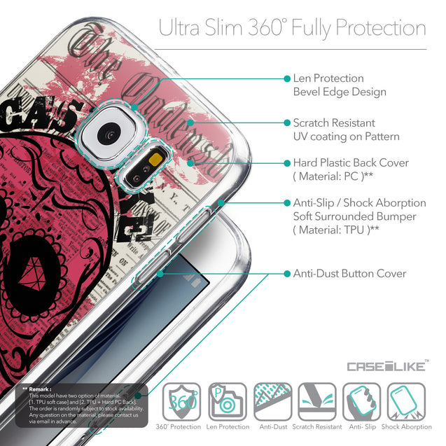 Details in English - CASEiLIKE Samsung Galaxy S6 back cover Art of Skull 2523