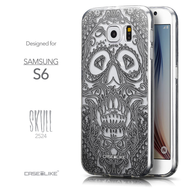 Front & Side View - CASEiLIKE Samsung Galaxy S6 back cover Art of Skull 2524