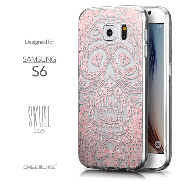 Front & Side View - CASEiLIKE Samsung Galaxy S6 back cover Art of Skull 2525