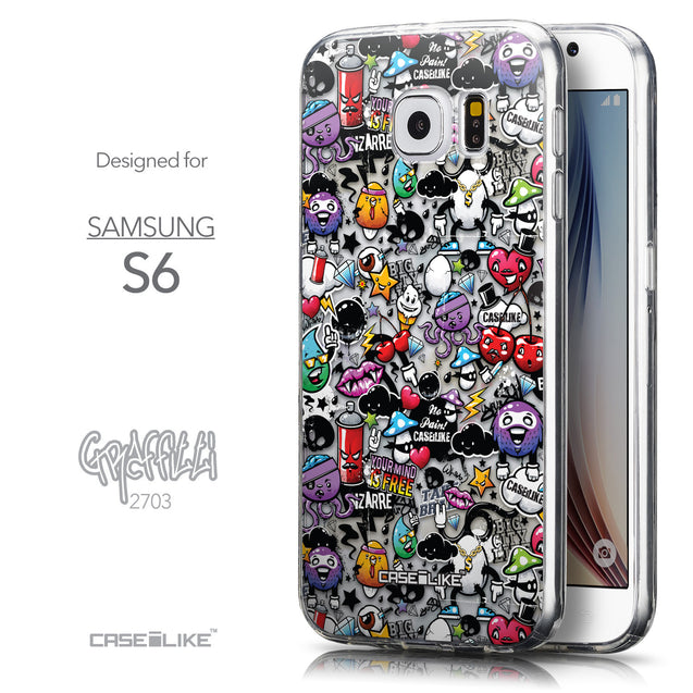 Front & Side View - CASEiLIKE Samsung Galaxy S6 back cover Graffiti 2703