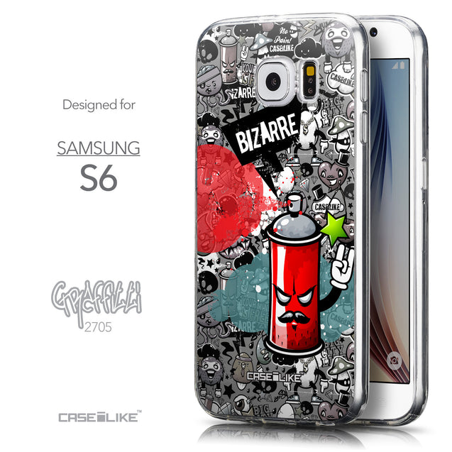Front & Side View - CASEiLIKE Samsung Galaxy S6 back cover Graffiti 2705