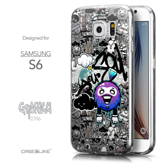 Front & Side View - CASEiLIKE Samsung Galaxy S6 back cover Graffiti 2706