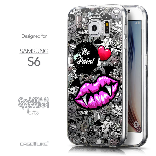 Front & Side View - CASEiLIKE Samsung Galaxy S6 back cover Graffiti 2708