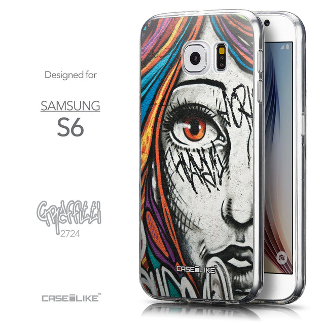 Front & Side View - CASEiLIKE Samsung Galaxy S6 back cover Graffiti Girl 2724